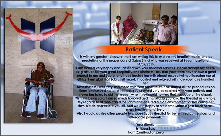 Thank you Is-haaq Said from Zanzibar, Tanzania for the kind words -  Team Zydus Hospitals.