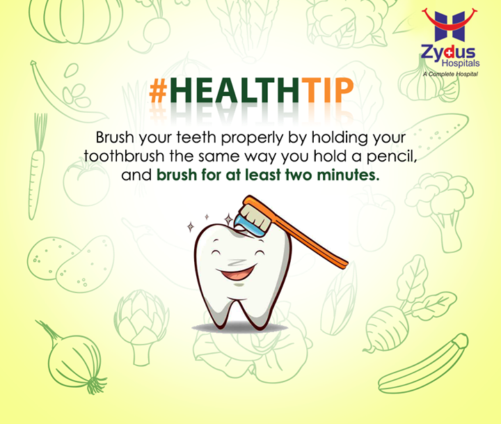 Health Tip:  Improper brushing can cause as much damage to the teeth and gums as not brushing at all.  #GoodHealth #HealthTips #ZydusHospitals