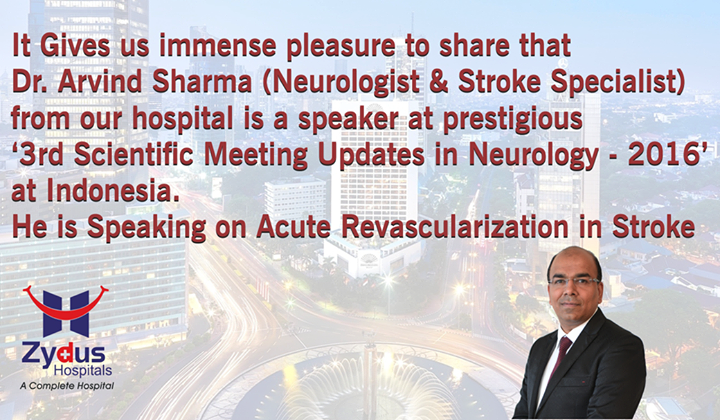 Dr. Arvind Sharma (Neurologist & Stroke Specialist) from Zydus Hospitals is a speaker at prestigious '3rd Scientific Meeting Updates in Neurology-2016' at Indonesia!  #Events #Neurology #StrokeSpecialist #ZydusHospitals