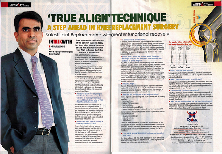 An apt article on the 'True Align' Technique interviewing Dr Daria Singh, MS Knee & Replacement Surgeon, Zydus Hospitals   #InTheNews #TrueAlignTechnique #KneeReplacement #ZydusHospitals #Ahmedabad