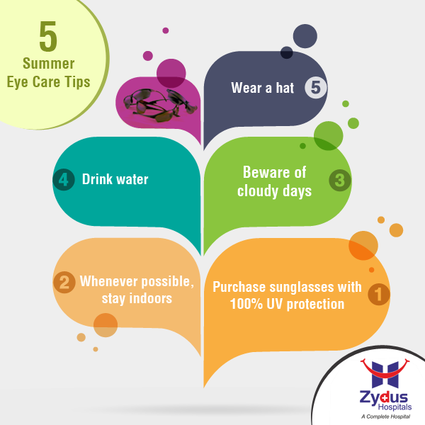 Below are some helpful summer eye care tips to help protect your eyes from the scorching sun.  #EyeCare #Summer #Heat #Tips #ZydusHospitals #Ahmedabad
