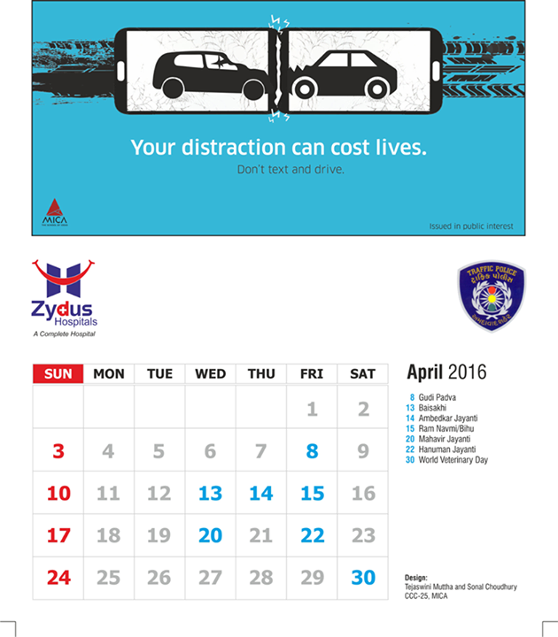 This #April let's be more careful while #driving! Don't #text & #drive!   #RoadAwareness #ZydusHospitals #Safety