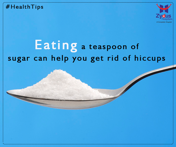 Nothing can be more aggravating than non-stop hiccups. There are many conditions that can lead to hiccups like gas in stomach, heartburn, too much food intake or eating too rapidly. One home remedy for getting rid of hiccups is to eat sugar.  #HealthTips #ZydusHospitals #Ahmedabad