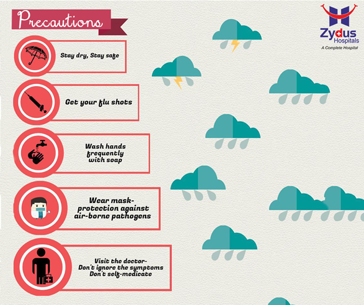 The monsoon season can prove to be a health menace, as there are various diseases that come with the rains. Here are some basic monsoon precautions you should take!  #Monsoon #Precautions #ZydusHospitals #Ahmedabad
