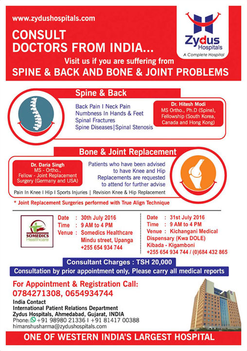 Consult doctors from India for Spine & Joint problems in  TANZANIA - July 30th & 31st!