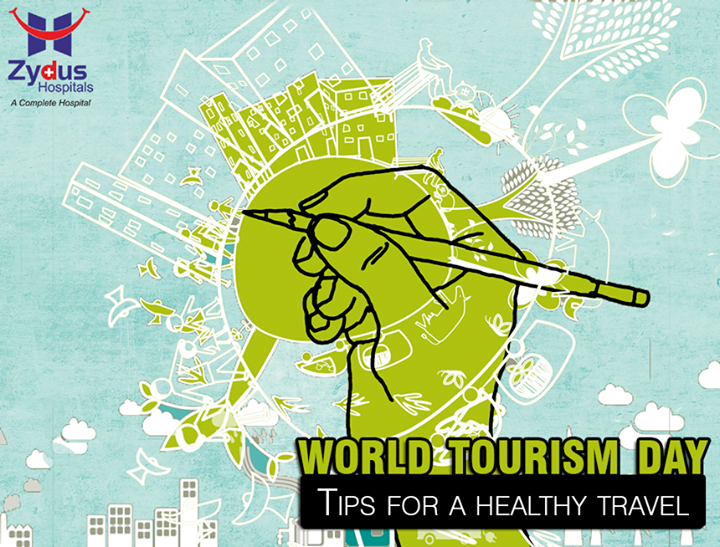 :: Tips for a healthy travel ::  -> Take precautions against malaria when you visit areas at risk. Prevent mosquito bites and take malaria pills as advised. -> Road safety is important - wear safety belts in cars, helmets on bikes and avoid night time driving. -> Abstain from dehydration drinking save and bottled water -> Verify and consume safe water and food. Have a supply of medicine for self-treatment of diarrhea. -> Excessive sun exposure should be minimized by the use of sunscreen. Sun can be more intense over water, snow and at altitude. -> Leave animals alone. Animal bites or scratches can transmit rabies. Seek help if bitten.  #WorldTourismDay #Travel #TourismDay #ZydusHospitals #ZydusCares