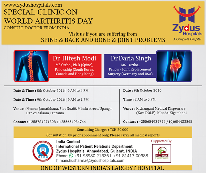 This World Arthritis Day, Zydus Hospitals is organizing a special clinic. Do visit us if you're suffering with spine & back and Bone & joint problems.   #WorldArthritisDay #ZydusCares #ZydusHospitals #Ahmedabad