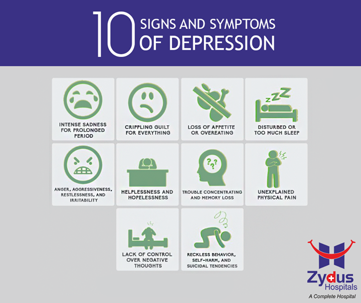 Sometimes physical problems can cause depression. But other times, symptoms of depression are part of a more complex psychiatric problem. Here are the most common symptoms   #HealthCare #ZydusHospitals #Ahmedabad