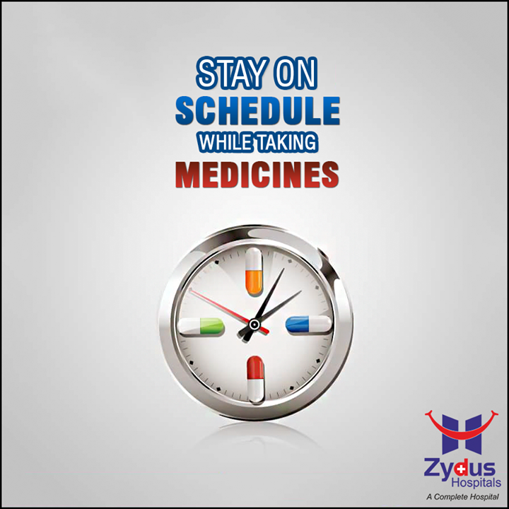 Your doctor prescribed you medications meant to treat your condition in a specific way. You need to stay on the prescribed schedule if you want them to be as effective as possible.   That's easier to do if you use a chart, pill calendar, or your phone's calendar reminders to set a schedule and track when you take your medication  #Medication #HealthCare #ZydusHospitals #Ahmedabad