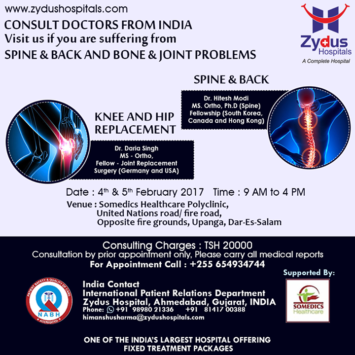 Visit us if you are suffering from Spine, Backbone or Joint problems.  #ZydusHospitals #Ahmedabad #Consulting #MedicalCamps