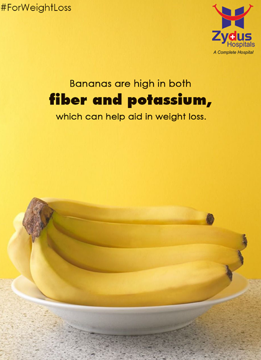 #Bananas also are the only fruit that is a high source of vitamin B6; a single serving has more than 30 percent of the #recommended daily amount! So enjoy a banana with breakfast or on the go to better your waistline and your #immune system!  #ForWeightLoss #HealthCare #ZydusCares #ZydusHospitals #Ahmedabad