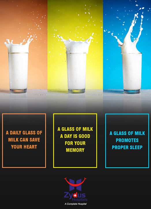 Here are the best 3 benefits of milk. Milk has long been known as a valuable source of protein that helps to build #healthy #bones.  #ZydusCares #CardiacCare #ZydusHospitals #Ahmedabad
