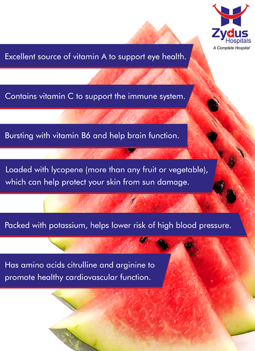 Watermelon season is here! And here are a couple of reasons why it is an excellent food for your health!    #ZydusCares #ZydusHospitals #Ahmedabad #SummerTips #SummerHealth