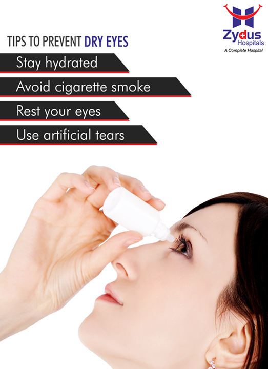 Dry eyes are a common problem which occurs when tear glands fail to produce enough tears. Keep these tips in mind to prevent dryness of eyes.  #EyeCare #HealthCare #ZydusCare #ZydusHospitals #Ahmedabad