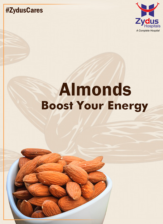#Almonds are rich in manganese, riboflavin, and copper, all of which aid in manufacturing energy. If you are always on the go, try making your own almond energy bar, and take your power source with you.  #ZydusCares #HealthTips #ZydusHospitals #Ahmedabad