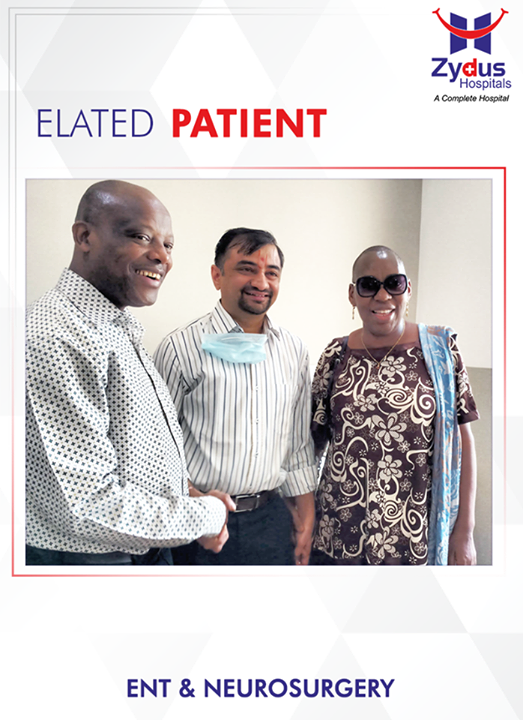 Mrs. Liazer from Arusha, Tanzania trusted us with her life. Suffering from Pituitary Adenoma and multiple complex medical conditions, performing a Skull Based Minimally Invasive Endoscopic Surgery was not the easiest of choice for Dr. Lav Selarka (ENT Specialist) & Dr. Kalpesh Shah & Dr. Ankur (Neurosurgeons). Her husband Mr. Liazer placed his 100% faith in us and his prayers were answered. They are now back home relishing their moments spent at Zydus. It is a contended feeling when a patient says