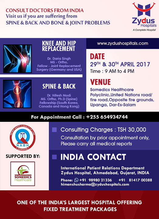 Visit us if you are suffering from Spine, Backbone or Joint problems.  #VisitUs #HealthCare #JointsProblems #BackboneProblems #SpineProblems #ZydusCare #ZydusHospitals #Ahmedabad