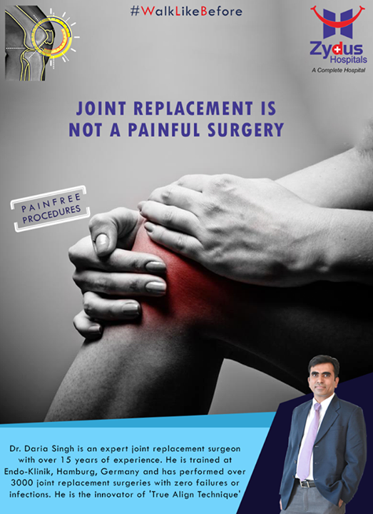Total Knee replacement / Total Hip Replacement is not a painful surgery! Say goodbye to #kneepain & yes to a pain-free life!  For more info: http://truealignkneesurgery.com/ Our Chat Window - https://goo.gl/oSyuNK  #WalkLikeBefore #TrueAlign #KneeReplacements #ZydusHospitals #Ahmedabad #Gujarat