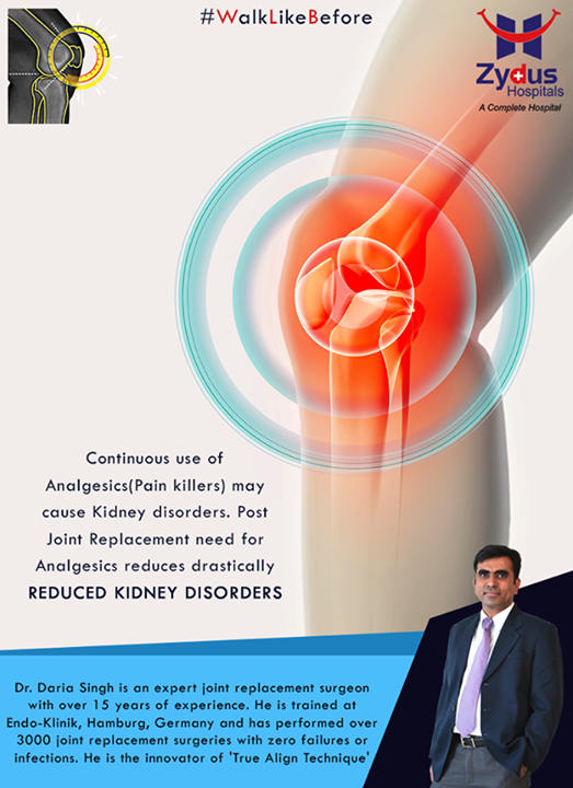 Continuous use of Analgesics (Pain killers) may cause Kidney disorders. Post Joint Replacement need for Analgesics reduces drastically.   For more info: http://truealignkneesurgery.com/ Our Chat Window - https://goo.gl/oSyuNK  #WalkLikeBefore #TrueAlign #KneeReplacements #ZydusHospitals #Ahmedabad #Gujarat