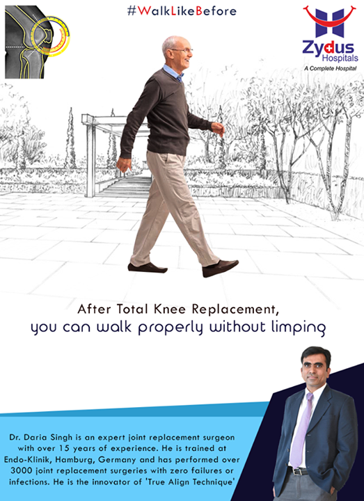 After Total Knee Replacement, you can walk properly without limping!  For more info: http://truealignkneesurgery.com/ Our Chat Window - https://goo.gl/oSyuNK  #WalkLikeBefore #TrueAlign #KneeReplacements #ZydusHospitals #Ahmedabad #Gujarat