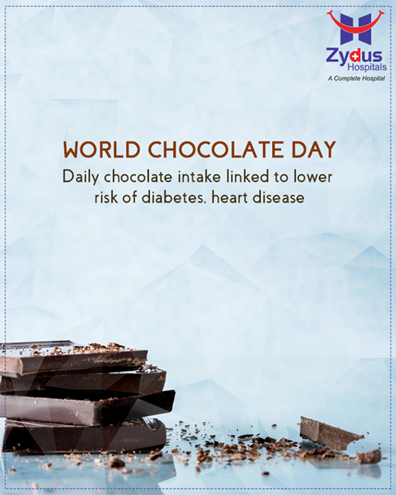 A small amount of chocolate every day could lower the risk of diabetes and heart disease.  #WorldChocolateDay #ChocolateDay #HealthCare #ZydusCares #ZydusHospitals