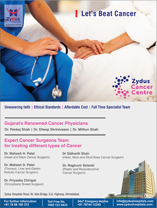 Let's beat cancer. Zydus cancer centre now open!   #BeatCancer #CancerCentre #ZydusCancerCentre #ZydusCare #ZydusHospitals #Ahmedabad #Gujarat