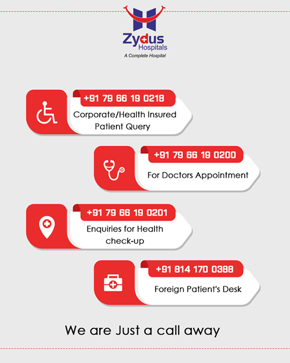 :: Call us for any medical assistance ::  #ZydusHospitals #CallUs #StayHealthy #Ahmedabad #GoodHealth