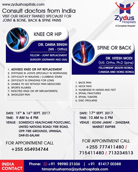 :: Consult doctors from INDIA ::  #VisitUs #HealthCare #JointsProblems #BackboneProblems #SpineProblems #ZydusCare #ZydusHospitals #Ahmedabad