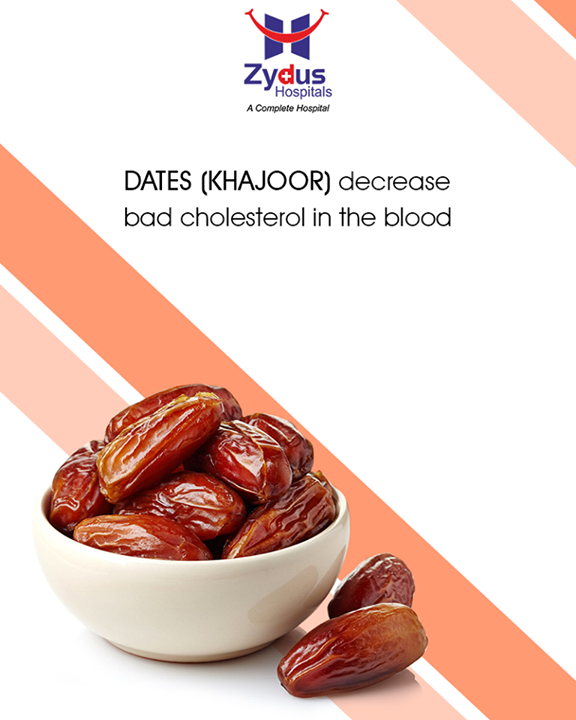 Dates (Khajoor) decrease bad cholesterol in the blood & minimize the accumulation of plaque in the arteries thus promoting a healthier and better functioning cardio-vascular system.  #HealthTips #Dates #ZydusCares #HealthCare #ZydusHospitals #Ahmedabad