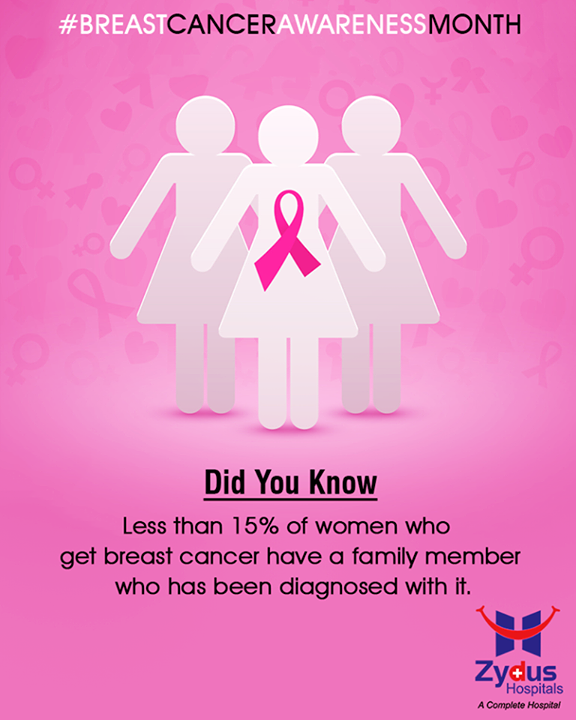 #DidYouKnow  Less than 15% of women who get breast cancer have a family member who has been diagnosed with it.  #BreastCancerAwarenessMonth #BreastCancer #October #ZydusHospitals #StayHealthy #Ahmedabad