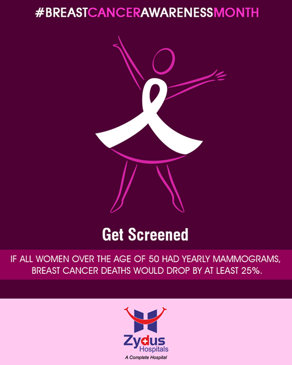 #DidYouKnow  If all women over the age of 50 had yearly mammograms, Breast cancer deaths would drop by at least 25%.  #BreastCancerAwarenessMonth #BreastCancer #October #ZydusHospitals #StayHealthy #Ahmedabad