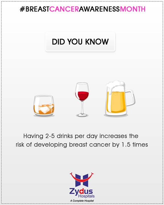 Having 2-5 Drinks per day increase the risk of developing breast cancer.  #BreastCancerAwarenessMonth #BreastCancer #October #ZydusHospitals #StayHealthy #Ahmedabad