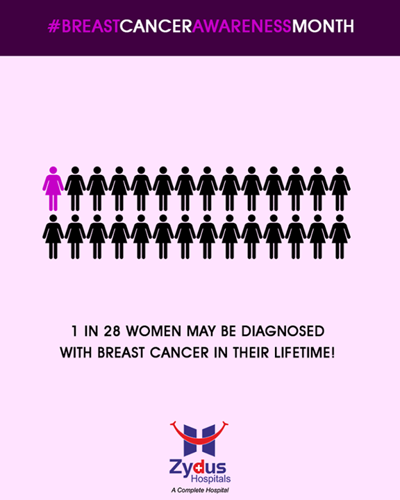 1 in 28 women may be diagnosed with Breast Cancer in their lifetime!  #DidYouKnow #BreastCancerAwarenessMonth #BreastCancer #October #ZydusHospitals #StayHealthy #Ahmedabad