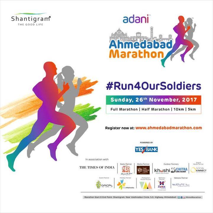 Participate in Adani Ahmedabad Marathon on 26th November, 2017. Register now at www.ahmedabadmarathon.com #Run4OurSoldiers #ZydusHospitals #Ahmedabad