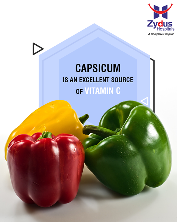 Capsicum boosts metabolism, promotes cardiovascular health by keeping blood pressure level in control. This healthful veggie is also an excellent source of Vitamin C which fuels white blood cells in order to fight infection.  #DidYouKnow #Capsicum #ZydusHospitals #ZydusCare #StayHealthy #Ahmedabad