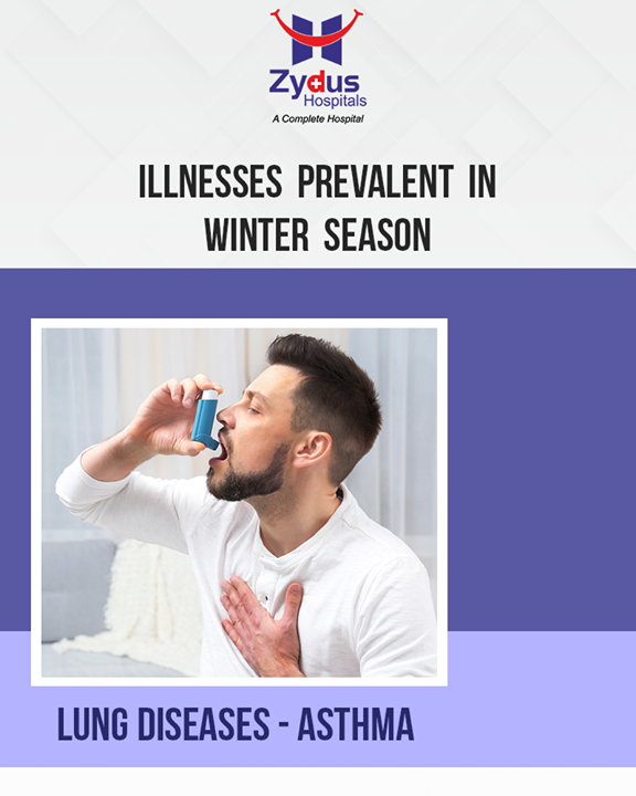 Cold air is a major trigger of asthma symptoms such as wheezing and shortness of breath. People with asthma should be especially careful in winter. Stay indoors on very cold, windy days. If you do go out, wear a scarf loosely over your nose and mouth. Be extra vigilant about taking your regular medications, and keep reliever inhalers close by.  #IllnessesPrevalent #WinterSeason #ZydusHospitals #ZydusCare #StayHealthy #Ahmedabad