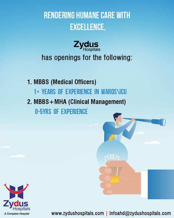 :: Job openings ::  #ZydusHospitals #ZydusCare #StayHealthy #Ahmedabad #JobOpenings