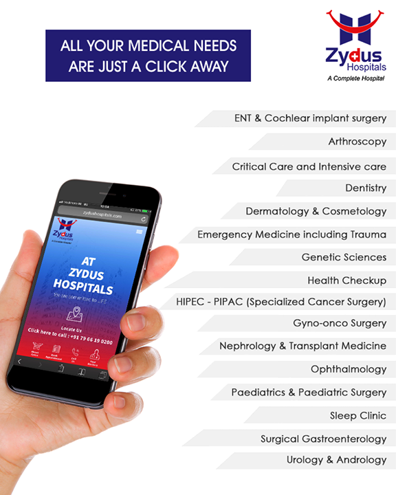 All your medical needs are just a click away.  Book Appointments | Request Treatment Plan | Request Call Back.  Visit now : www.zydushospitals.com  #BookAppointments #ZydusHospitals #ZydusCare #StayHealthy #Ahmedabad