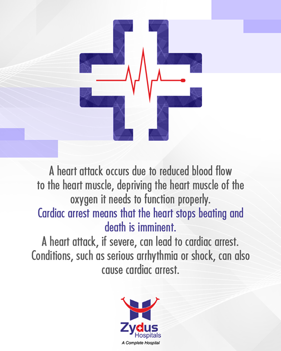 Cardiac Arrest is not the same as Heart Attack.   #CardiacArrest #Heartbeats #HeartCare #HealthyYou #ZydusHospitals #ZydusCare #StayHealthy #Ahmedabad