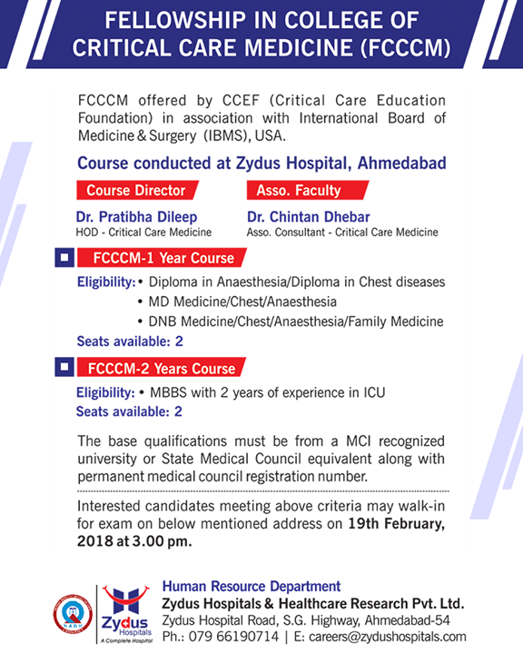 Fellowship in college of critical care Medicine!  #FCCCM #ZydusHospitals #Ahmedabad