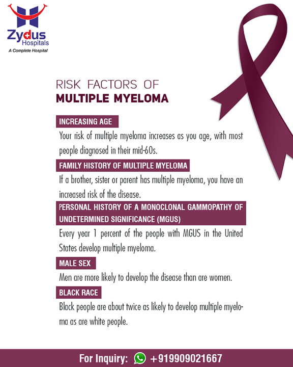 Spread A Word! March is Multiple Myeloma Action Month #MultipleMyelomaIsTreatable Know the factors that may increase your risk of Multiple Myeloma.  #MultipleMyelomaActionMonth #ZydusHospitals #StayHealthy #Ahmedabad #GoodHealth