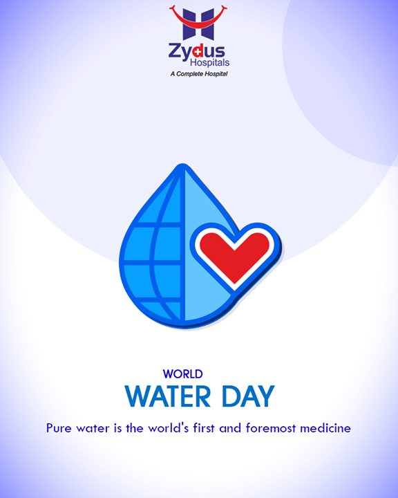 Pure water is the world's first & foremost medicine!   #WorldWaterDay #SaveWater #WaterDay #WaterIsLife #ZydusHospitals #StayHealthy #Ahmedabad #GoodHealth