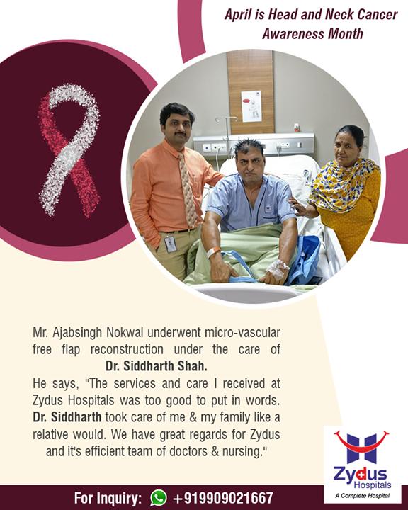 We believe in spreading smiles of Good Health!  #HeadAndNeckCancerAwarenessMonth #HeadAndNeckCancer #ZydusHospitals #StayHealthy #Ahmedabad #GoodHealth #PatientTestimonials #Testimonials