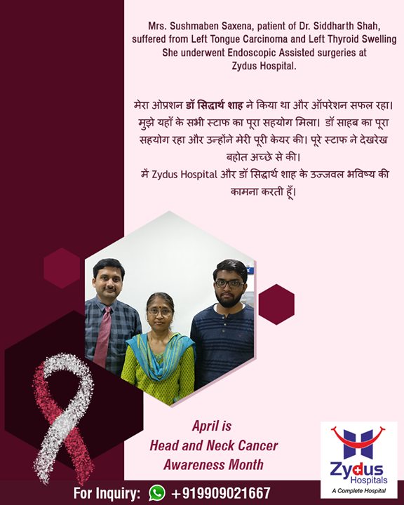We believe in spreading smiles of Good Health!  #ZydusHospitals #StayHealthy #Ahmedabad #GoodHealth #PatientTestimonials #Testimonials #HeadAndNeckCancerAwarenessMonth