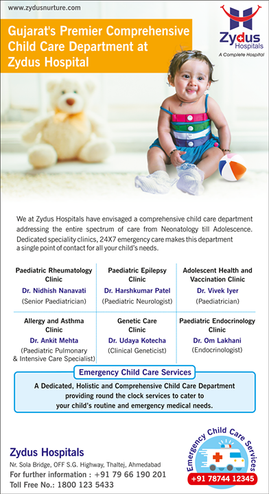 Holistic & comprehensive child- care!  #Childcare #ZydusHospitals #StayHealthy #Ahmedabad #GoodHealth