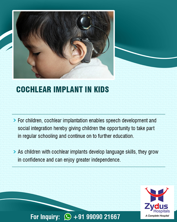Cochlear implants help users to manage everyday life by helping them better understand speech, use the telephone, take part in conversation etc.  #Cochlear #Implant #ENT #ZydusHospitals #StayHealthy #Ahmedabad #GoodHealth