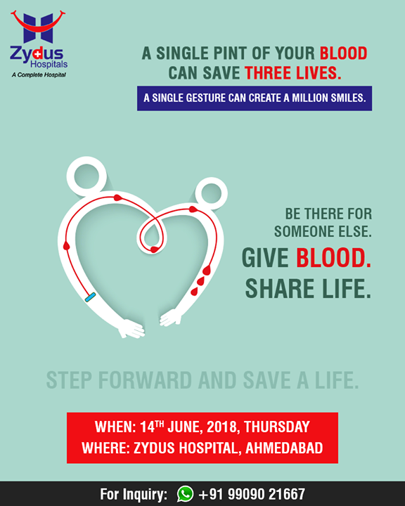 Be there for someone else!   #DonateBlood #BloodDonation #WorldBloodDonorDay #ZydusHospitals #StayHealthy #Ahmedabad #GoodHealth