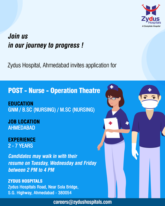 Join us in our journey to progress!  #ZydusHospitals #StayHealthy #Ahmedabad #GoodHealth #JobApplications #Interviews