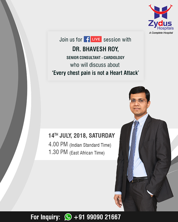 Every chest pain is not a #heartattack! Join us for a #FBLive to debunk myths!  #ZydusHospitals #StayHealthy #Ahmedabad #GoodHealth