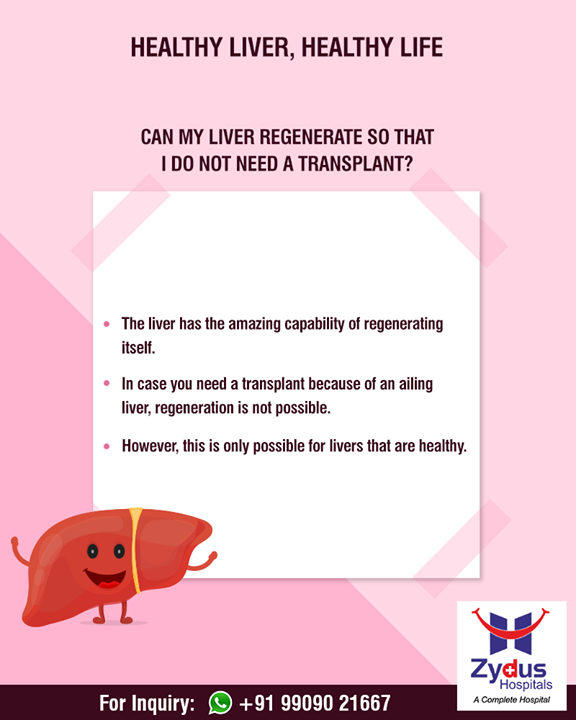 Liver is the only organ in the body that can fully regenerate up to 75% of damaged tissue.  To know more on liver diseases, click - healthyliverclinic.com  #HealthyLiver #ZydusHospitals #StayHealthy #Ahmedabad #GoodHealth #HealthyLiverHealthyLife